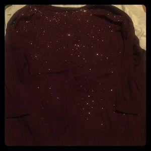 3x wine color light sweater